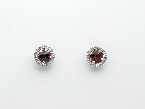 14 karat white gold garnet and diamond earrings