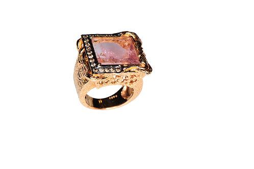 18 karat rose gold pink tourmaline and chocolate diamond ring