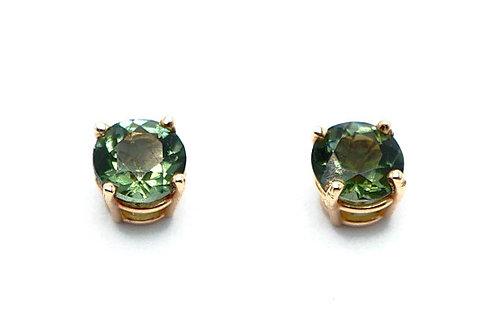 14 karat yellow gold green tourmaline earrings