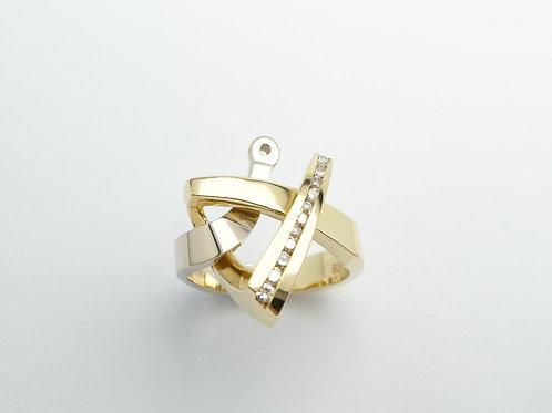 18 karat yellow gold diamond semi mount ring