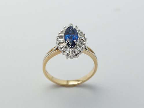 14 karat yellow gold and white gold sapphire and diamond ring