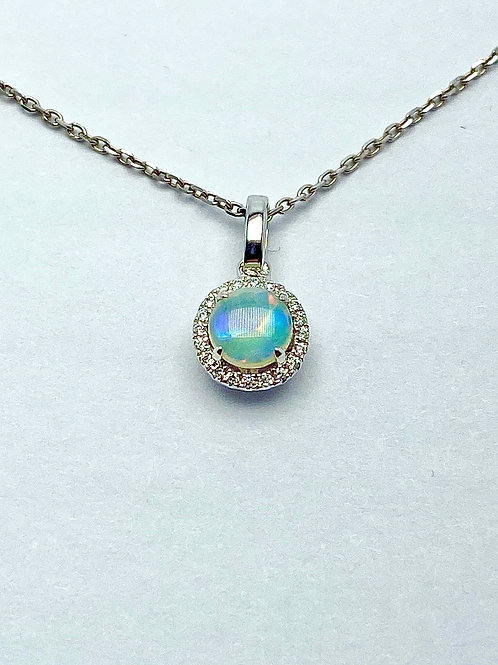 14 Karat White Gold Opal and Diamond Pendant