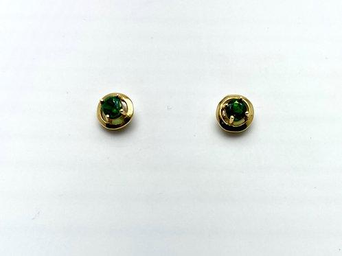 18 Karat Yellow Gold Garnet Earrings