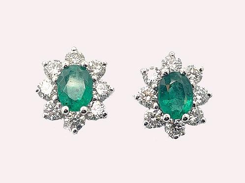 14K White Gold Emerald and DiamondEarrings