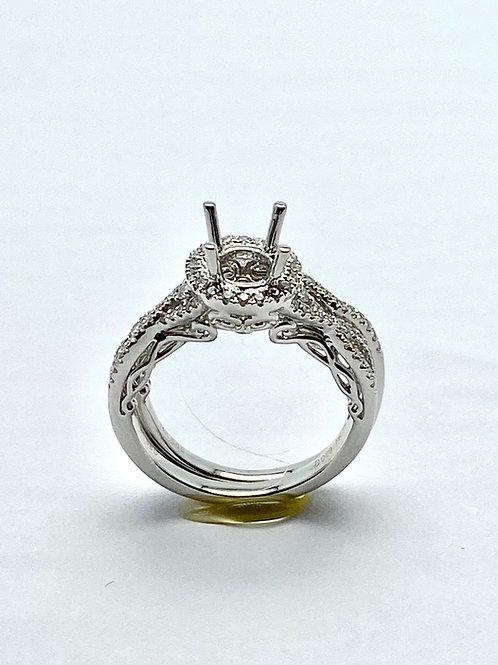 14 Karat White Gold Diamond Semi Set Bridal Set