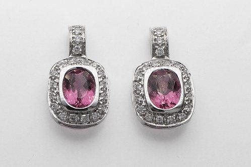 18 karat white gold pink tourmaline and diamond earrings