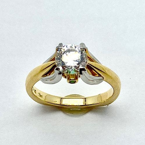 Platinum and 18 Karat Yellow Gold Emerald Semi-Mount Ring