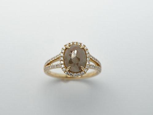 14 karat yellow gold rough diamond ring