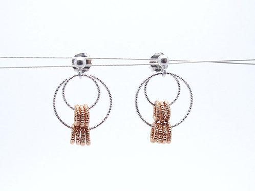 Sterling silver and rose gold plated earrings