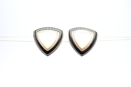 14 karat yellow gold mother of pearl and black onyx earrings