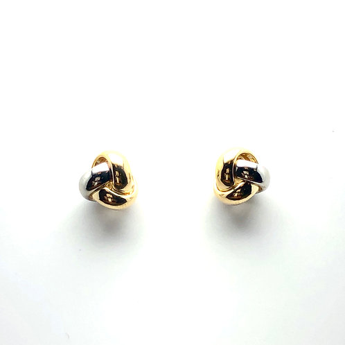 14K Two Toned Knot Earrings (Smaller Knot)