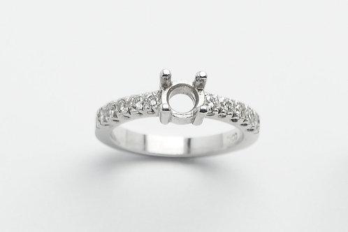 14 karat white gold semi mount engagement ring