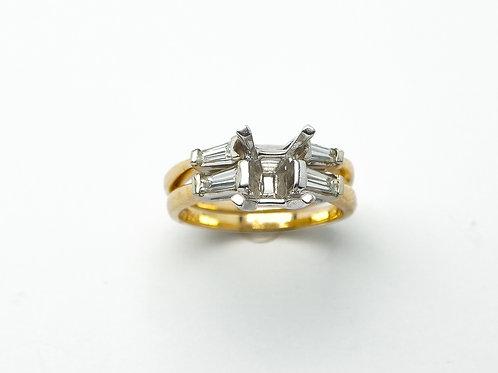14 karat yellow gold and white gold semi mount diamond engagement set