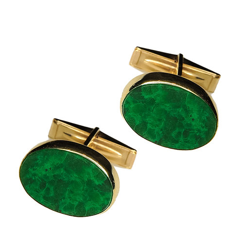 14 karat yellow gold jadeite cufflinks