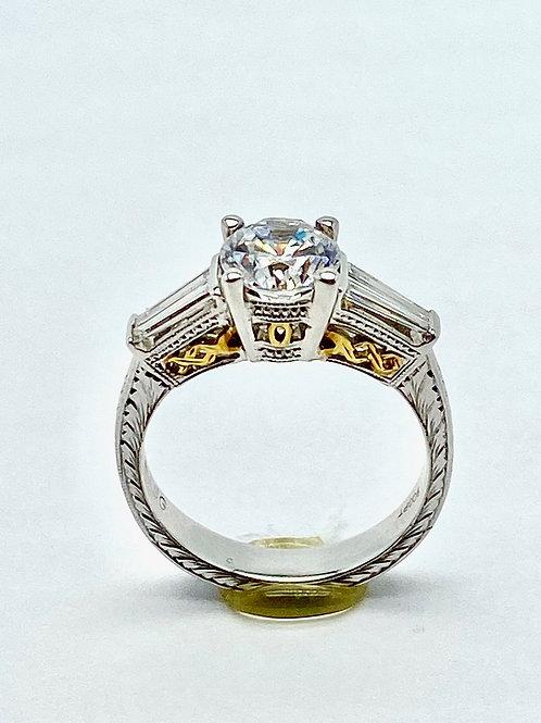 Platinum and 18 Karat Yellow Gold Diamond Semi-Mount Ring