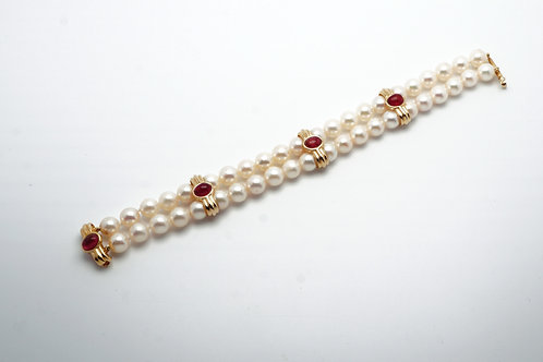 14 karat yellow gold, pink tourmaline and pearl bracelet