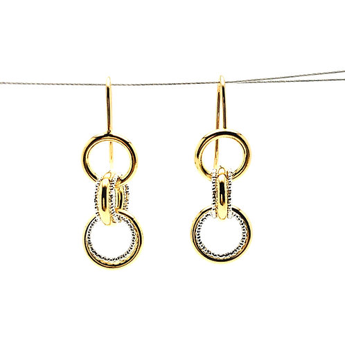 Sterling Silver and Yellow Plated Multi Ring Earrings