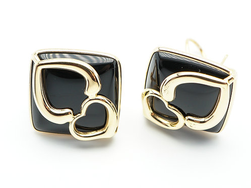 14 karat yellow gold black onyx earrings