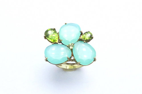 Sterling silver chalcedony, peridot and diamond ring