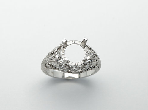 14 karat white gold semi mount diamond ring