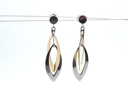Sterling Silver and Yellow Gold Overlay Earrrings