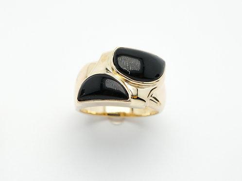 14 karat yellow gold black onyx ring