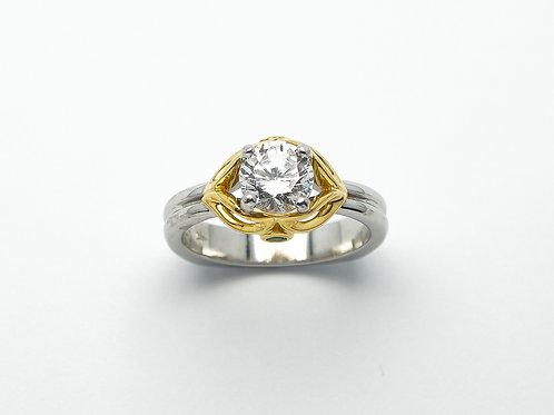 Platinum and 22 karat yellow gold emerald semi mount engagement ring