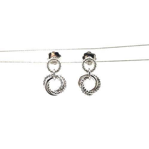 Sterling Silver Sparkle and Smooth Love Knot Earrings