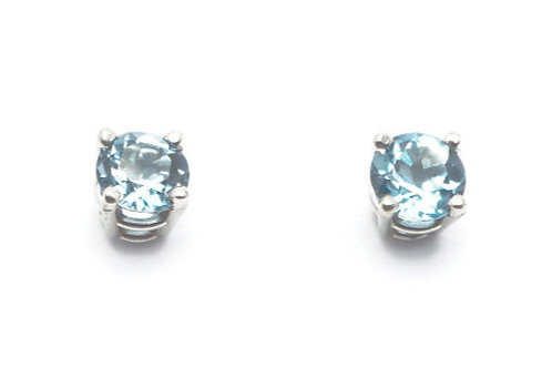 14 karat white gold blue topaz earrings