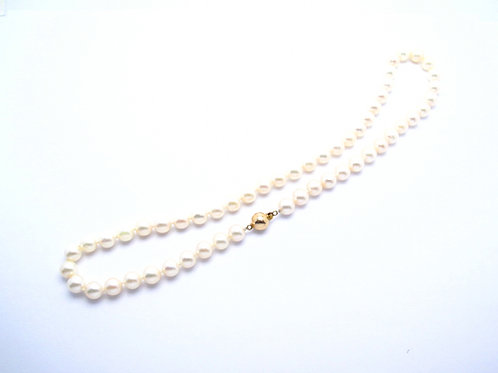 7.5-8.0 mm Akoya pearl necklace with yellow gold clasp