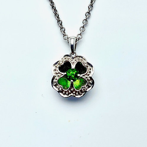 14 Karat White Gold Chrome Diopside and Diamond Pendant