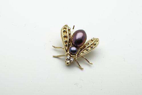 14 karat yellow gold pearl and diamond pin