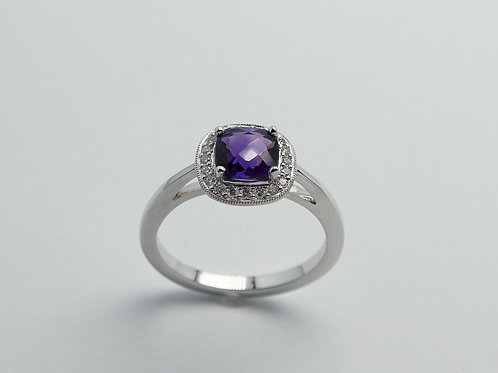 14 karat white gold amethyst and diamond ring