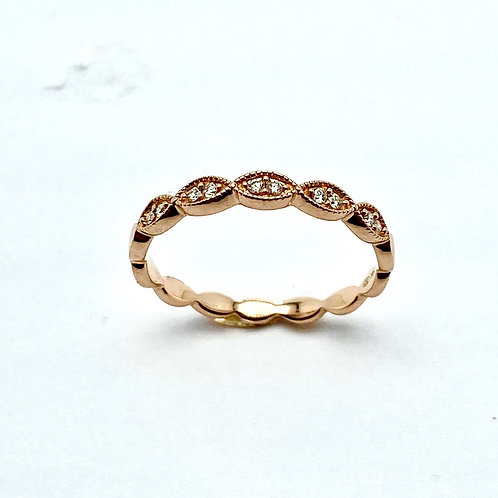 14 Karat Rose Gold Diamond Band