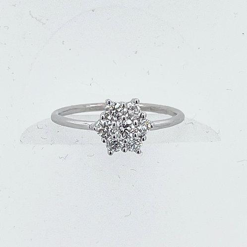 14K White Gold Flower Cluster Ring
