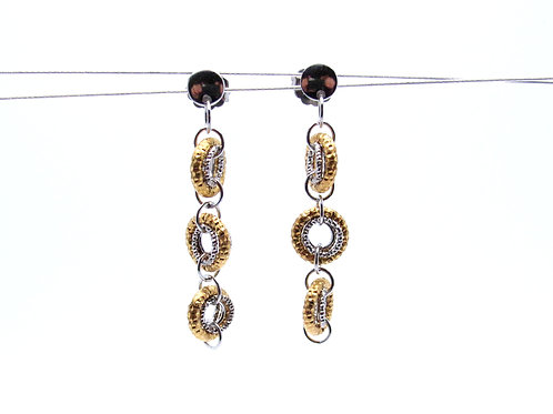 Sterling silver and yellow gold overlay earrings