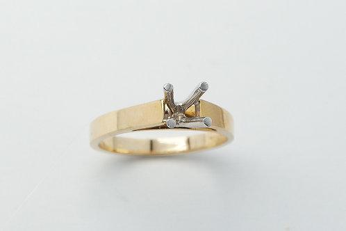 14 karat yellow gold and platinum engagement ring mounting