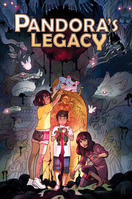 PANDORA'S LEGACY  Written by: Bones Leopard Illustrated by: Kelly and Nichole Matthews Published: Dec 4th, 2018 by Boom! Studios  The Panagakos family are descendents of Pandora, their family tasked with protecting Pandora's box and capturing the monsters that have escaped over the years. When Charlie, Janet, and Trevor accidentally break the box, it's up to the three of them to fix it before their family finds out...or worse...  What starts out as a typical family vacation to Grandma and Grandpa's house quickly erupts into supernatural mystery and peril when three siblings accidentally break an old, mystical jar hidden deep in the woods. As magical monsters pour out of the fractured relic and run amok, Charlie, Janet, and Trevor must find a way to capture all of the creatures in order to save their family—and potentially the entire world—before it's too late.