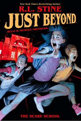 JUST BEYOND: THE SCARE SCHOOL  Written by: R.L. Stine Illustrated by: Kelly and Nichole Matthews Published: Sep 3rd, 2019 by Boom! Studios   Middle school feels like the worst place imaginable, but for Jess, Josh, and Marco, their school may actually be the worst place in this world... or any other!   After a chance encounter with a deadly creature stalking the school halls, these three unsuspecting students are whisked away to a horrifying realm beyond the school boiler room where they must unravel a terrifying mystery. Can they save the kids they find there and escape themselves, or will they be forever trapped Just Beyond?
