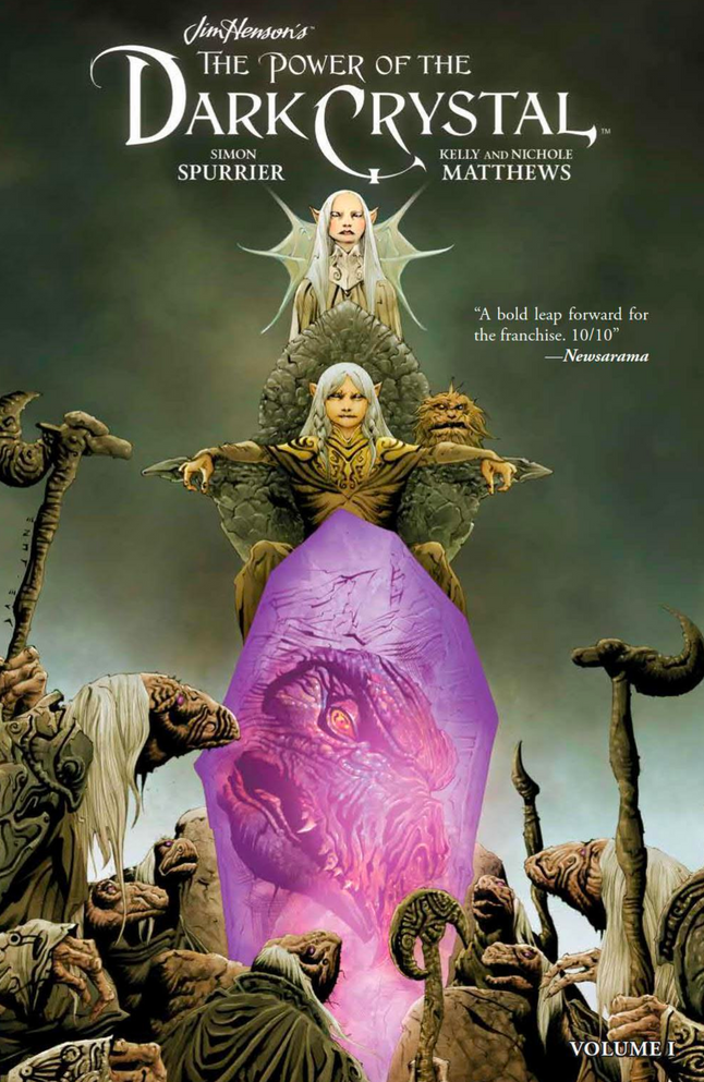 THE POWER OF THE DARK CRYSTAL  Written by: Simon Spurrier Illustrated by: Kelly and Nichole Matthews Published: Oct 31st, 2017 by Boom! Studios  An official sequel to Jim Henson's cult classic fantasy film The Dark Crystal.  Years have passed since the Dark Crystal was healed and peace was restored on Thra. Though Jen and Kira have ruled as King and Queen, they have become distracted by power. The planet is sick and those on the surface of Thra are not the only ones effected. A mysterious race of creatures called Firelings live in a realm near the planet's core, hidden from the Gelfling and their kingdom. A young Fireling named Thurma is tasked with stealing a shard of the Crystal to restore power to her world. Along the way she'll befriend the young Gelfling Kensho, conjure the Skeksis and Mystics, and embark on one incredible adventure.