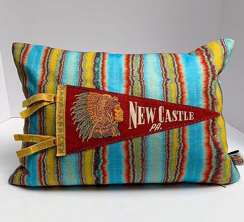 Vintage New Castle Pa. Pennant pillow