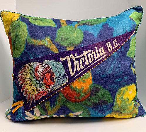 Vintage Victoria B.C. Pennant pillow