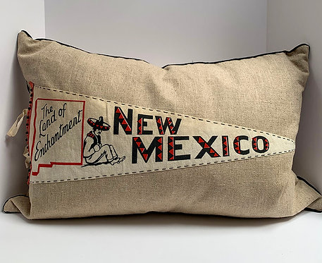 Vintage New Mexico Pennant Pillow