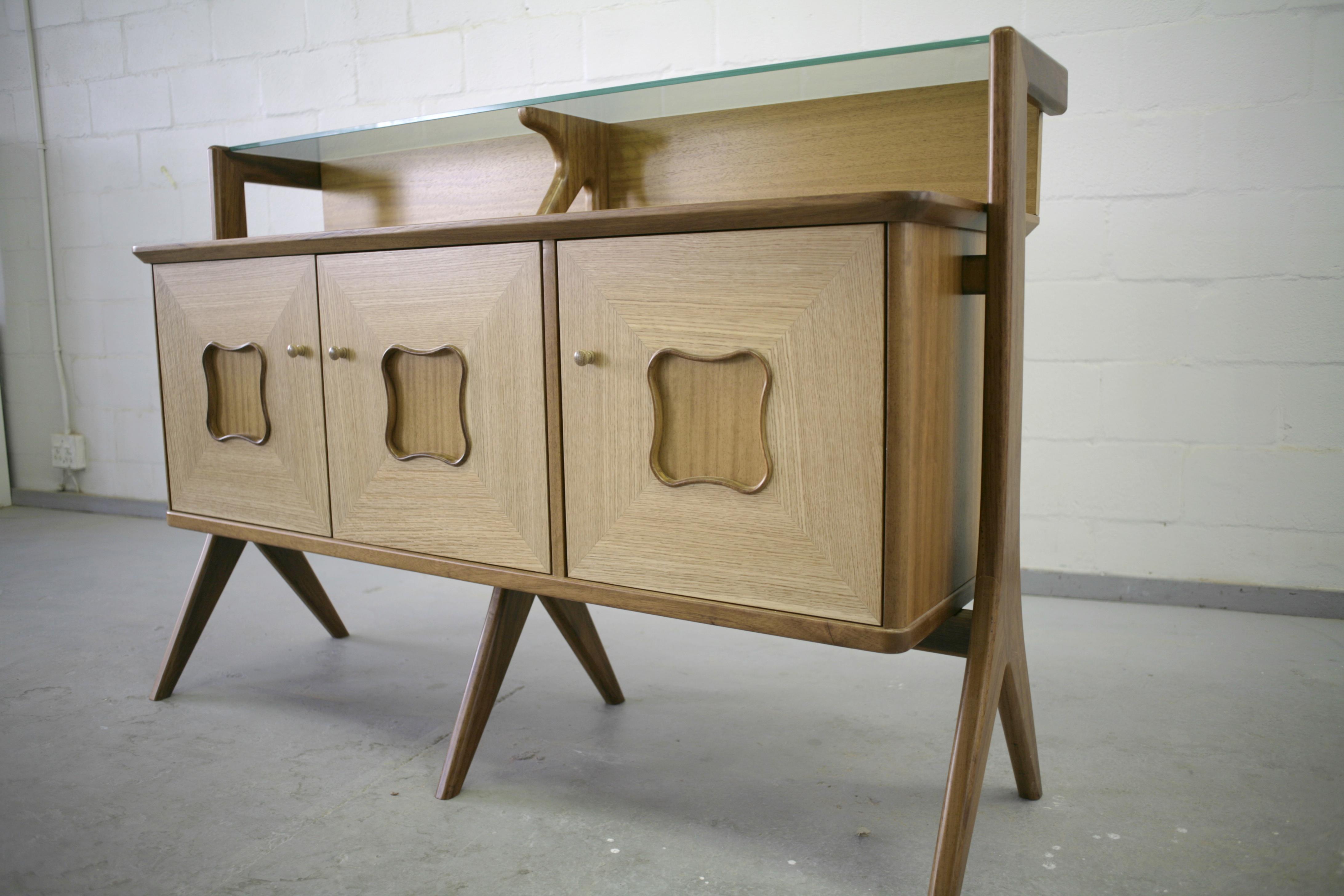 Custom oak and hiroko cabinet