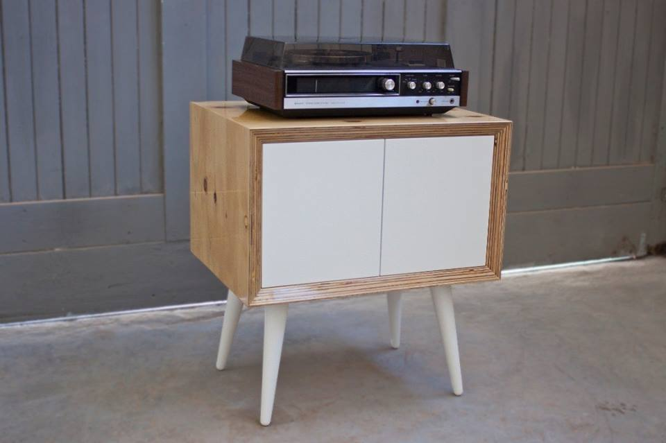 Record cabinet from upcycled wood