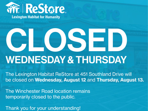 ReStore Closed Wednesday, August 12