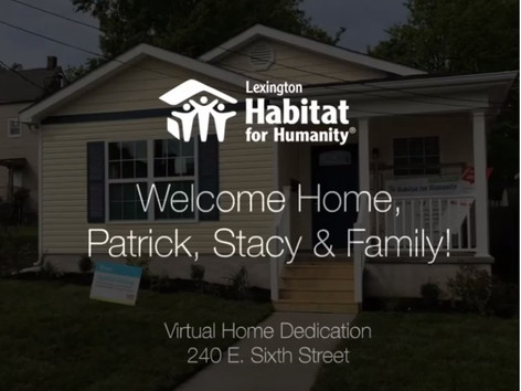 Welcome Home, Patrick, Stacy & Family!