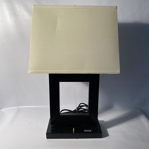 Table Lamp with Outlets - Black