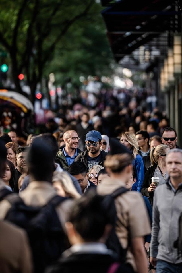 People on a sidewalk