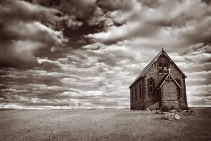 Old church and clouds